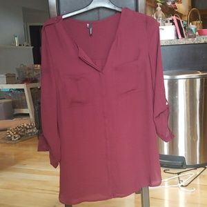 Maurices deep red/darker maroon button down blouse